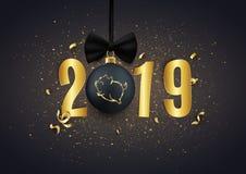 Le logo de scintillement de porc sur la boule décorative de Noël avec de l'or numérote, illustration de vecteur