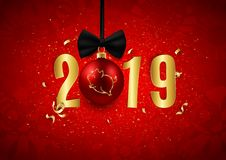 Le logo de scintillement de porc sur la boule décorative de Noël avec de l'or numérote, symbole d'horoscope de Chinois de la nouv illustration libre de droits