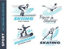 Le logo de sport d'hiver a placé - dirigez l'illustration, emblème sur le fond blanc illustration stock