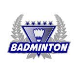 Le logo de tournoi de badminton avec le volant et le laurier tressent Photos libres de droits