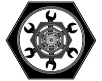 Le logo des boulons et des clés Images stock