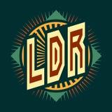 Le logo est l'abréviation des relations de longue distance de ` de LDR de ` L'image avec le texte de couleur sur un fond foncé illustration stock