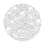 Le logo ou l'emblème rond moderne de la clinique dentaire Photos stock
