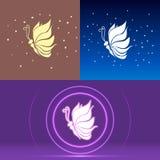Le logotype de papillon s'envole des ressembler à l'illustration de vecteur de lotos Photographie stock libre de droits