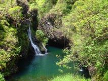 le long de la route de Hana Hawaï Maui aux cascades à écriture ligne par ligne Images libres de droits