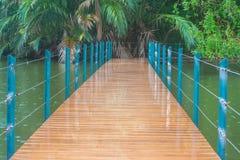Le long pont en bois croisent plus de le lac en parc public entouré avec naturel vert Photographie stock libre de droits