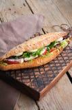 Le long sandwich à baguette avec des tomates de laitue eggs l'oignon et le Mayo Image libre de droits