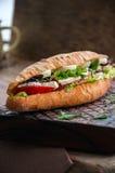 Le long sandwich à baguette avec des tomates de laitue eggs l'oignon et le Mayo Image stock