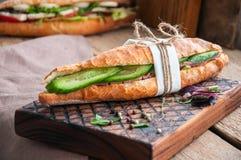 Le long sandwich à baguette avec le bifteck de boeuf coupe en tranches le concombre et l'épice Photo libre de droits