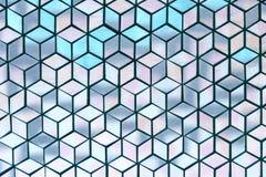 Le losange géométrique en verre de ton bleu doux rapièce le fond abstrait de texture Photographie stock