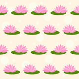 Le lotus rose de bande dessinée sur le doux a coloré le fond sans couture de modèle de couverture Images stock