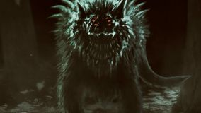 Le loup étranger émerge de la forêt foncée et ouvre sa bouche illustration stock