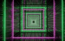 Le luci al neon scavano una galleria, rappresentazione 3d illustrazione di stock