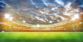 Le luci alla notte ed allo stadio 3d rendono, Immagine Stock