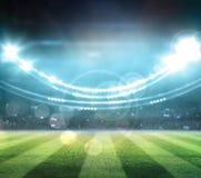 Le luci alla notte ed allo stadio 3d rendono, illustrazione vettoriale