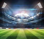 Le luci alla notte ed allo stadio 3d rendono, illustrazione di stock