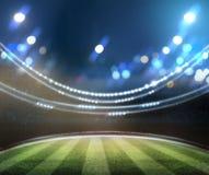 Le luci alla notte ed allo stadio 3d rendono, royalty illustrazione gratis