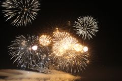 Le luci dei fuochi d'artificio Fotografia Stock