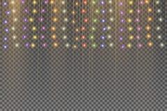Le luci di Natale hanno isolato gli elementi realistici di progettazione illustrazione vettoriale
