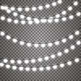 Le luci di Natale hanno isolato gli elementi realistici di progettazione royalty illustrazione gratis