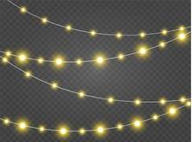 Le luci di Natale hanno isolato gli elementi realistici di progettazione L'ardore si accende per le carte di festa di natale, ins Fotografia Stock