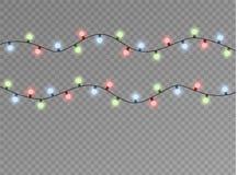 Le luci di Natale hanno isolato gli elementi realistici di progettazione L'ardore si accende per le carte di festa di natale, ins Immagini Stock Libere da Diritti
