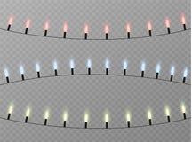 Le luci di Natale hanno isolato gli elementi realistici di progettazione L'ardore si accende per le carte di festa di natale, ins Immagine Stock Libera da Diritti