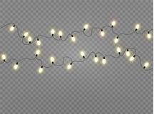 Le luci di Natale hanno isolato gli elementi realistici di progettazione L'ardore si accende per le carte di festa di natale, ins Fotografie Stock Libere da Diritti