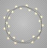 Le luci di Natale hanno isolato gli elementi realistici di progettazione L'ardore si accende per le carte di festa di natale, ins Fotografia Stock Libera da Diritti
