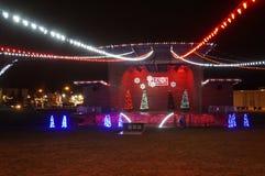 Le luci di Natale di Hapo visualizzano a John Dam Plaza, Richland, WA fotografia stock