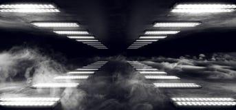 Le luci laser bianche d'ardore al neon della nave di Sci Fi del fumo della luce straniera futuristica cyber di ballo hanno ingann royalty illustrazione gratis