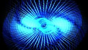 le luci laser blu dell'ingranaggio di turbinio 4k, la tecnologia di energia, la scienza di radiazione, impulso smazza il vento illustrazione vettoriale