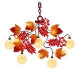 Le lustre électrique avec le cadre fleuri des branches d'arbre avec la sorbe d'automne part et des baies Élément de conception in illustration de vecteur