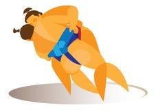 Le lutteur de sumo exécute un jet spectaculaire de son adversaire illustration stock