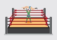 Le lutteur soulève l'adversaire en luttant Ring Vector Cartoon Illu illustration de vecteur