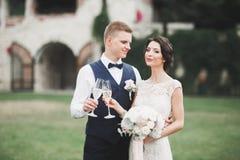 Le luxe a marié des couples de mariage, jeunes mariés posant dans la vieille ville Photos stock