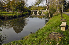 Le Luy de Béarn river and the old city bridge of  Sault-de-Nava Royalty Free Stock Image