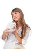 Le lycklig gullig ung kvinna Fotografering för Bildbyråer