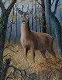 Le mâle de Brown se tient dans la haute herbe entre les arbres illustration stock