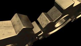 Le mécanisme avec les vitesses d'or tourne Fond noir Alpha Channel illustration stock