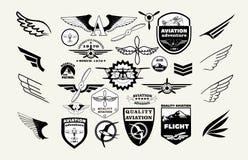 Le méga monochrome a placé de rétros emblèmes, d'éléments de conception, d'insignes et de corrections de logo sur l'aviation de t Photos libres de droits