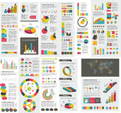 Le méga a placé des diagrammes d'éléments d'infographics, graphiques illustration stock