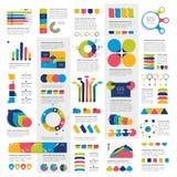 Le méga a placé des diagrammes d'éléments d'infographics, graphiques, diagrammes de cercle, diagrammes, bulles de la parole illustration stock