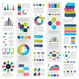 Le méga a placé des diagrammes d'éléments d'infographics, graphiques, diagrammes de cercle, diagrammes, bulles de la parole illustration de vecteur