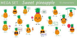 Le méga a placé du caractère de quinze ananas dans différentes poses et des accessoires dans le style de bande dessinée illustration de vecteur