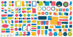 Le méga a placé les éléments plats de conception d'infographics, plans, diagrammes, boutons, bulles de la parole, autocollants illustration stock