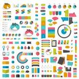 Le méga a placé les éléments plats de conception d'infographics, plans, diagrammes, boutons, bulles de la parole, autocollants illustration libre de droits