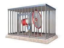 Le mégaphone à l'intérieur de la cage 3D en métal rendent l'illustration sur le dos de blanc Photos libres de droits