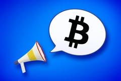 Le mégaphone et la parole bouillonnent avec un signe de bitcoin illustration stock
