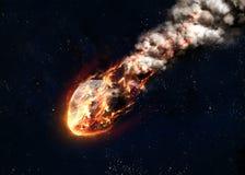 Le météore rougeoyant en tant que lui écrit l'atmosphère terrestre Images stock